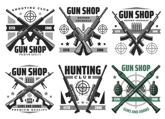 Gun shop and hunting ammo, equipment store vector icons. Military ammunition, rifles and shotguns, revolvers, aims and targets. Self protection and defence, bullets trigger ammo