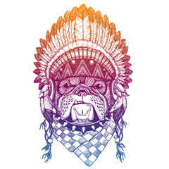 Bulldog. Dog. Portrait of vector animal wearing traditional indian headdress with feathers. Tribal style illustration for little children clothes. Image for kids tee fashion, posters.