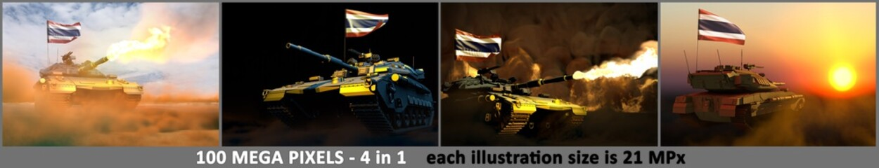 Thailand army concept - 4 high resolution pictures of tank with not real design with Thailand flag and free place for your text, military 3D Illustration