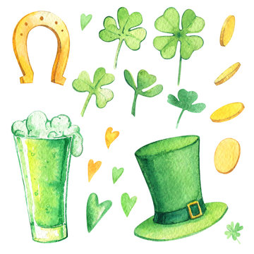 St. Patricks Day celtic hat gold coins clover glass beer set watercolor isolated