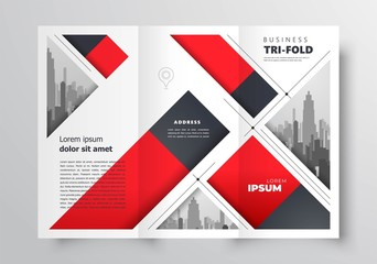 Tri-fold brochure design template stripes red color business cover