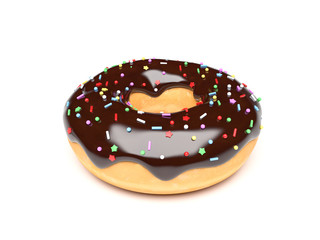 Donut with chocolate frosting. 3d rendering illustration
