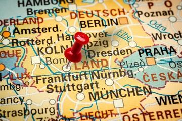 Pushpin pointing at Frankfurt city in Germany