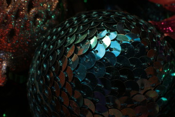 shiny bright background ball and garland as beads for decorating the Christmas tree festive macro...