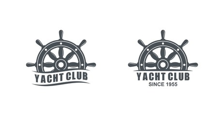Set of black and white logos of yacht club on a white background. Vector drawing of a marine helm, text and wave. Illustration on the marine theme.