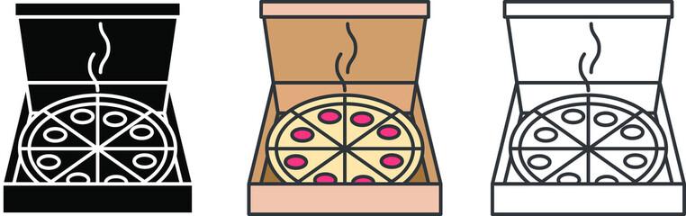 Pizza box icon, vector illustration