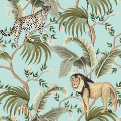 Vintage chinoiserie tree, palm leaves, lion, leopard animal floral seamless pattern blue background. Exotic tropical wallpaper.