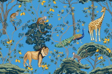 Vintage chinoiserie fruit tree, plant, bird, lion, giraffe, monkey, peacock seamless pattern blue background. Exotic oriental wallpaper.