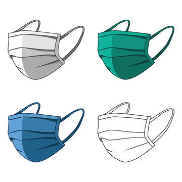 Medical mask. Protection against viruses and diseases transmitted by airborne droplets. 3 color masks and outlines in a simple flat style. Vector illustration for design and web isolated.