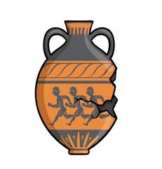 Fototapeta Ancient greek amphora, clay antique greece pottery. Flat vector illustration isolated on white background. obraz