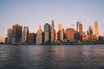 Fotobehang Amerikaanse Plekken sunrise manhattan skyline