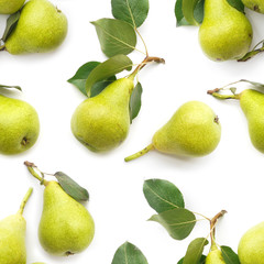Fototapete - Green pears isolated on white background, top view, seamless pattern.
