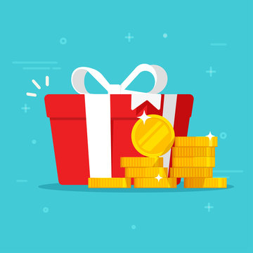 Gift box with money win present or cash happy present vector illustration flat cartoon, idea of online award or bonus achievement as giveaway isolated image