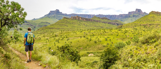 A hiking man enjoying the panorama of the Amphitheatre and to the rock formation Policeman's Helmet, Drakensberg mountains, Royal Natal National Park, South Africa Wall mural