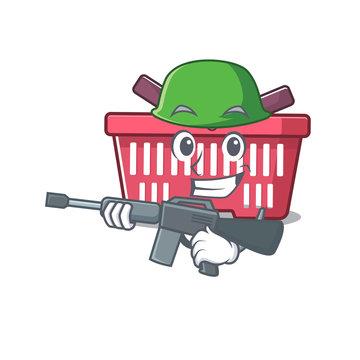 A cartoon design of shopping basket Army with machine gun