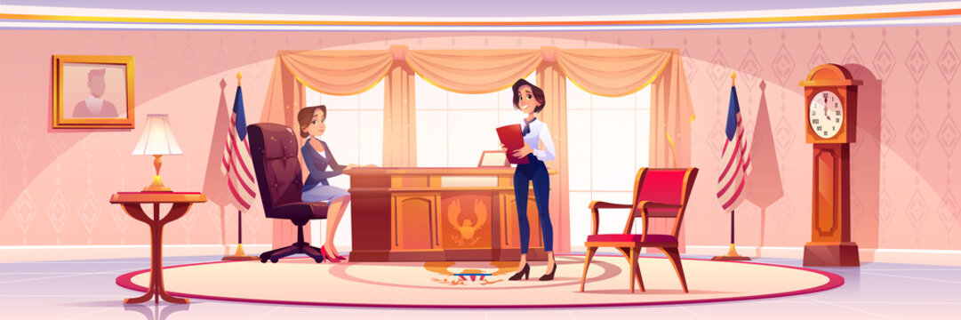 American presedent and secretary in Oval office in White house. Vector cartoon illustration of two women politician in government cabinet with vintage furniture, flag of USA and portrait on wall