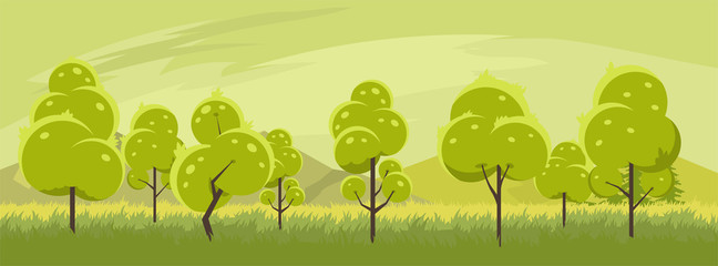Foto op Plexiglas Pistache Summer landscape with trees