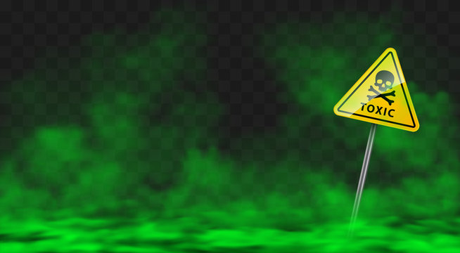 Warning sign in toxic green smoke or fog clouds. Vector realistic yellow triangle danger symbol with skull and crossbones and poison vapour spreading on ground isolated on transparent background