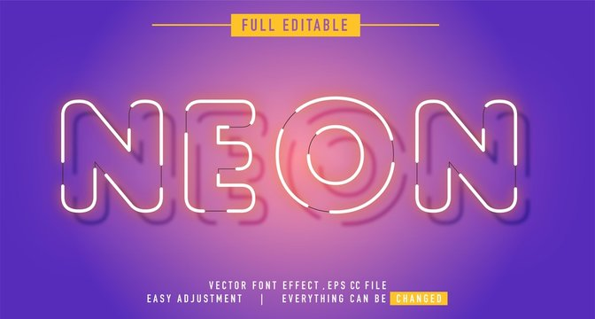 neon text effect that can be edited easily, letters are bright and attractive, editable text effect in adobe Illustrator, just one click, fonts not included