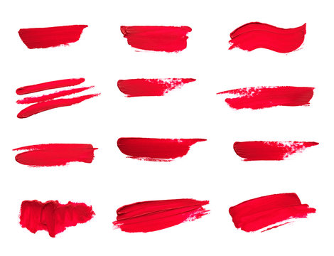 Set of Lipstick smear smudge swatch isolated on white background - Image