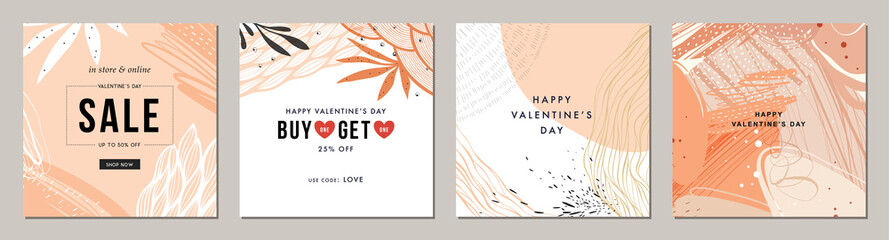 Wall Mural - Happy Valentine's Day greeting cards. Trendy abstract square art templates. Suitable for social media posts, mobile apps, banners design and web/internet ads.