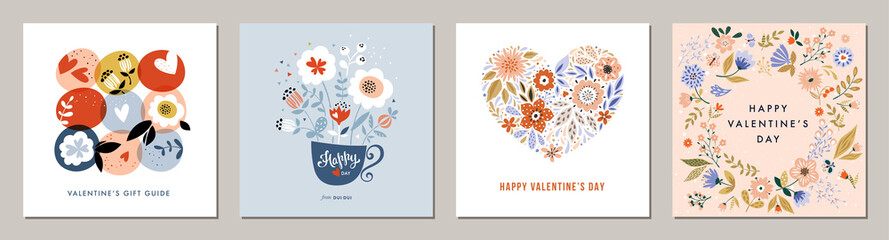 Happy Valentine's Day greeting cards. Floral square templates. Suitable for social media posts, mobile apps, banners design and web/internet ads.  Fototapete