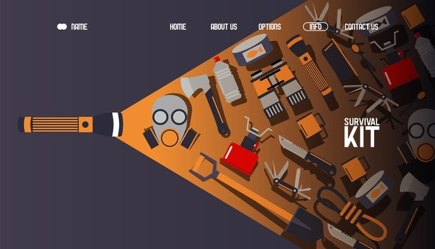 Survival kit inventory, website design, vector illustration. Basic equipment for emergency evacuation, landing page template. Gas mask, camping stove, binoculars and flashlight. Tools for survival