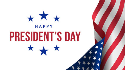 Happy Presidents Day. Festive banner with american flag and text