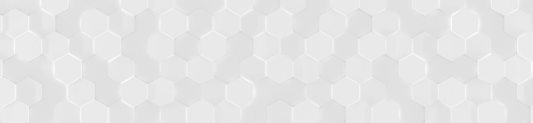 Wide White Hexagon Background (Website head) (3d illustration) Wall mural