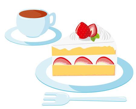 ショートケーキ 苺 生クリーム 皿 コーヒー
