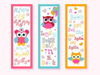 Printable Cartoon Owl Bookmarks with Messages in Three Color Option.
