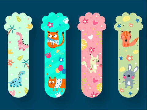 Colorful Printable Bookmarks with Animals, Flowers and Balloons.