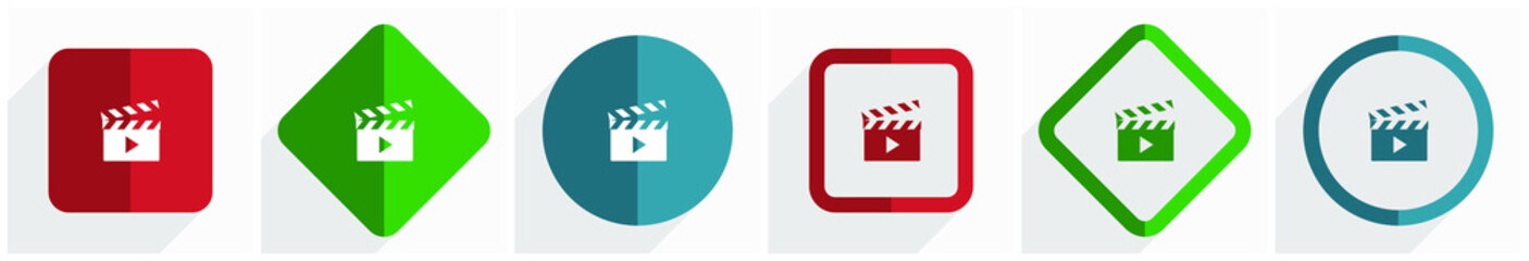 Video icon set, flat design vector illustration in 6 options for webdesign and mobile applications in eps 10