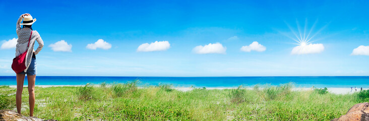 nice beach place with blue sky and white cloud