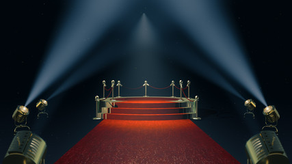 Award Stand with red carpet. 3d rendering.