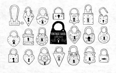 Set of doodle vintage locks on old paper background. Vector sketch illustration.