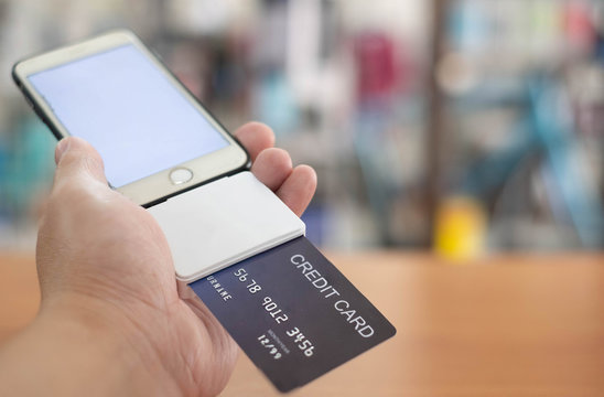 pay for product and service by credit card on Mobile Phone by Mobile Credit card swipe machine