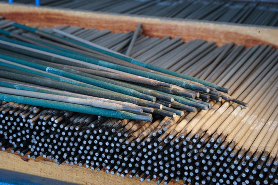 Welding electrodes in bulk.Close up picture.