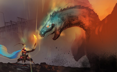 Digital illustration painting design style a dragon slayer fighting with boss of dragon in video game, against ruins city.