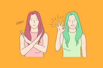 Obraz Sign language, stop and ok, opposite emotions concept. Call to stop, prohibition and consent gesture, communication, dialogue, gesticulating young woman, denying and agreeing girl. Simple flat vector - fototapety do salonu
