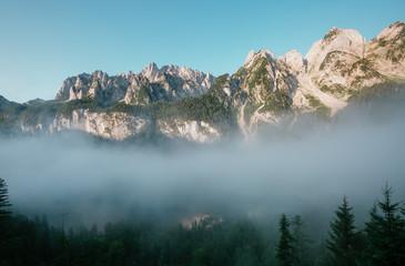 Location Alpine lake Vorderer Gosausee in Upper Austria.