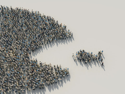 a large crowd of people in the shape of a fish hunts for a small