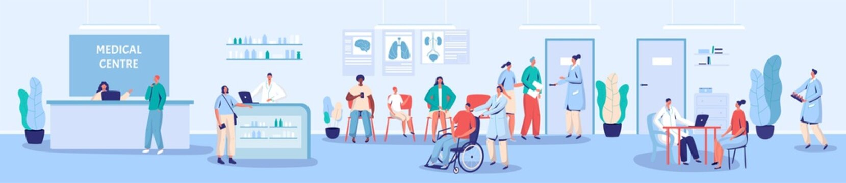 Medical center reception and waiting room vector illustration