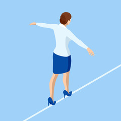 Isometric business woman tightrope walker is on the rope. Risk challenge in business, business risk, conquering adversity problems solution