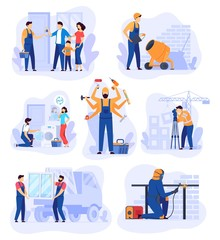 Fototapeta Home renovation work, repair man service vector illustration. Handyman cartoon character, set of building renovation scenes. Professional house repair service, workers in overalls, team of builders obraz