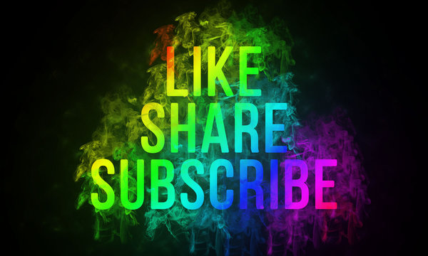 Word Like, share and subscribe is written with multiple color text and smoke effect on dark background, illustration.