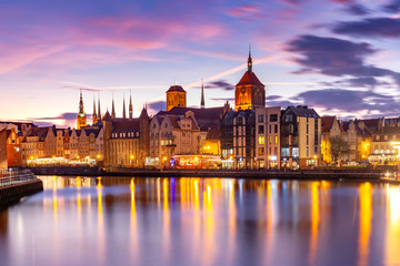 Wall Murals Ship Old Town of Gdansk, Dlugie Pobrzeze, Bazylika Mariacka or St Mary Church, City hall and Motlawa River at sunset, Poland