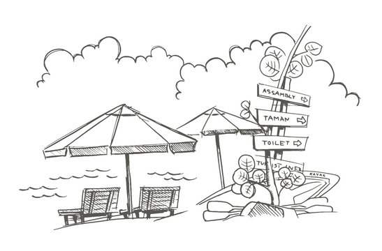 Beach sketch. Signpost, umbrellas with deck chairs. Kayak. Holidays on vacation.