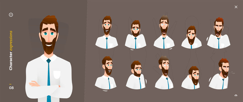 Man Cartoon Character Expressions