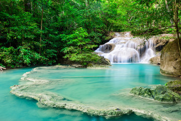 Poster Cascades Waterfall in Tropical forest at Erawan waterfall National Park, Thailand